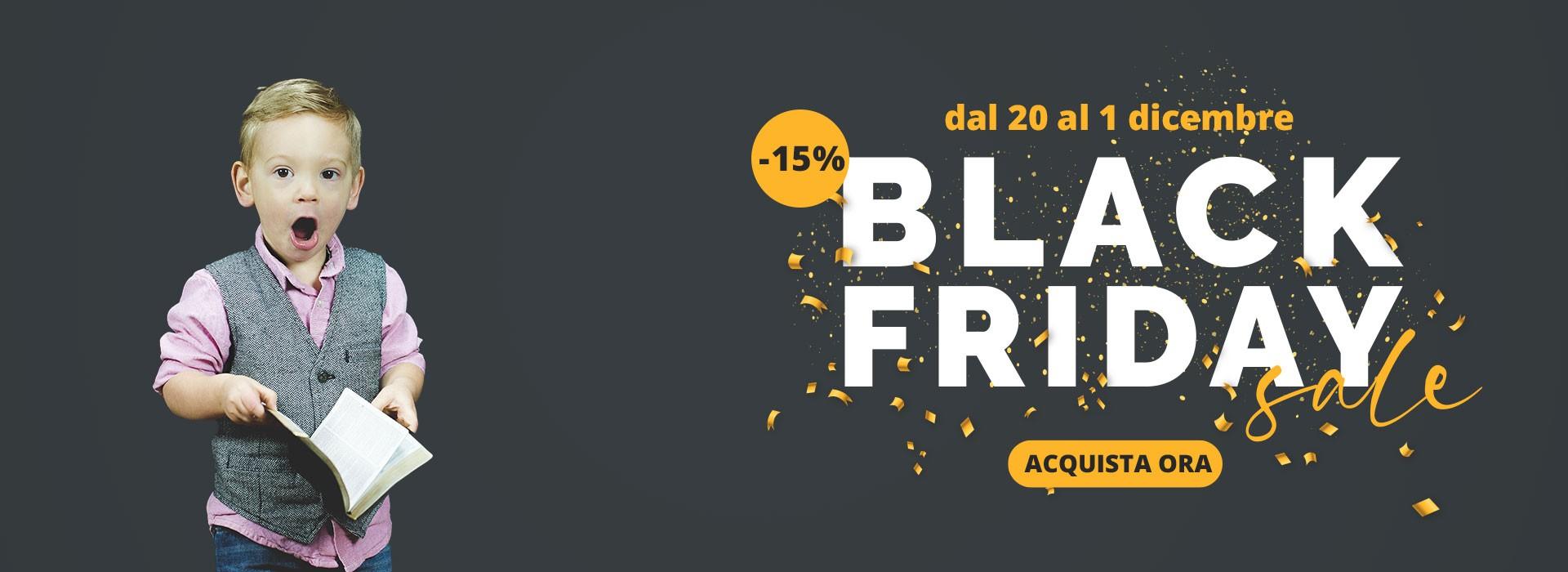 black friday -15% su tutto il catalogo